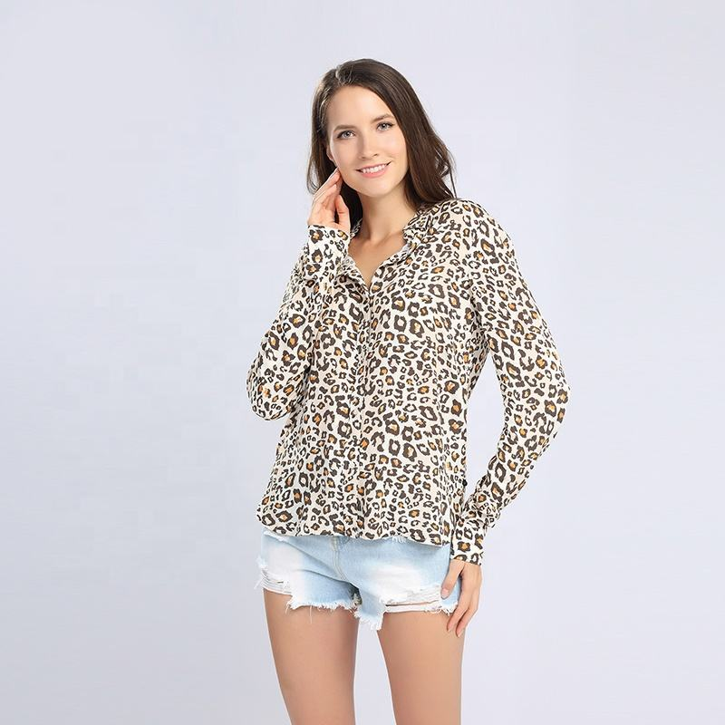 Classical style custom funny casual 100% rayon long sleeve leopard printed shirt blouse tops