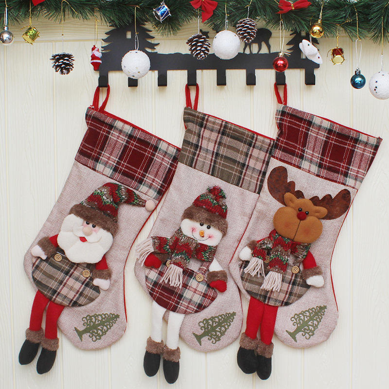 "Christmas Stocking 20"" Large Santa Snowman Reindeer Xmas Character 3D Plaid Nonwoven Cuff Christmas Decorations"