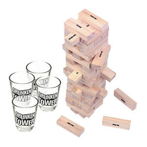 Drunken Tower The Grab A Piece Drinking Games For Adults Party Includes 4 Shot Glasses And 60 Stacking Wooden Blocks