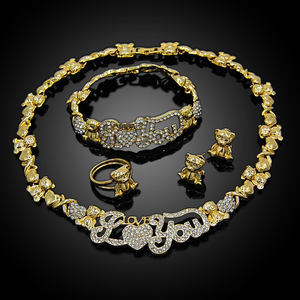 XOXO Gold Jewelry Sets Crystal Necklace Earrings Fashion Bridal Jewelry Sets Nigerian woman accessories Jewelry Set X0003