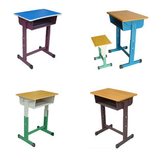 Hot sell single two seats furniture mdf student play school desk with chair