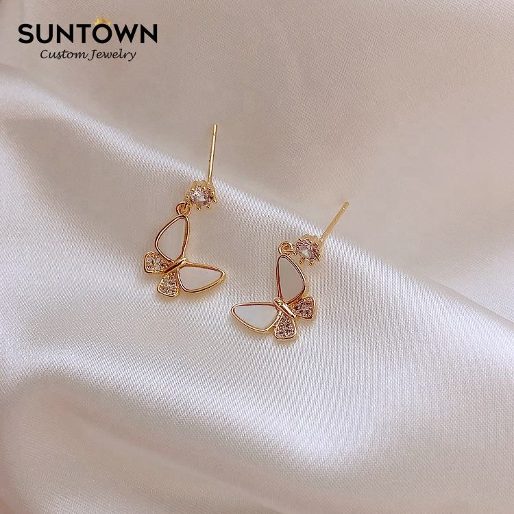 INS Gold Plating 925 Sterling Silver Post Butterfly Earrings for Girls SUNTOWN