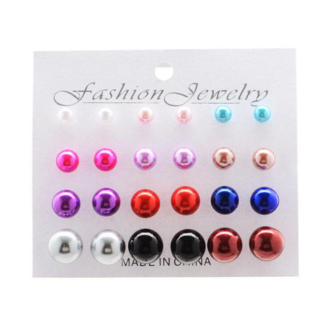 12 pairs White/Black/Multicolor Simulated Pearl Earrings Set Women Jewelry On Ear Ball Stud Earrings Set