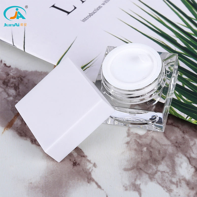 Wholesale body cream container 5ml square shape Acrylic cosmetic jars and lids for cosmetics JA-204