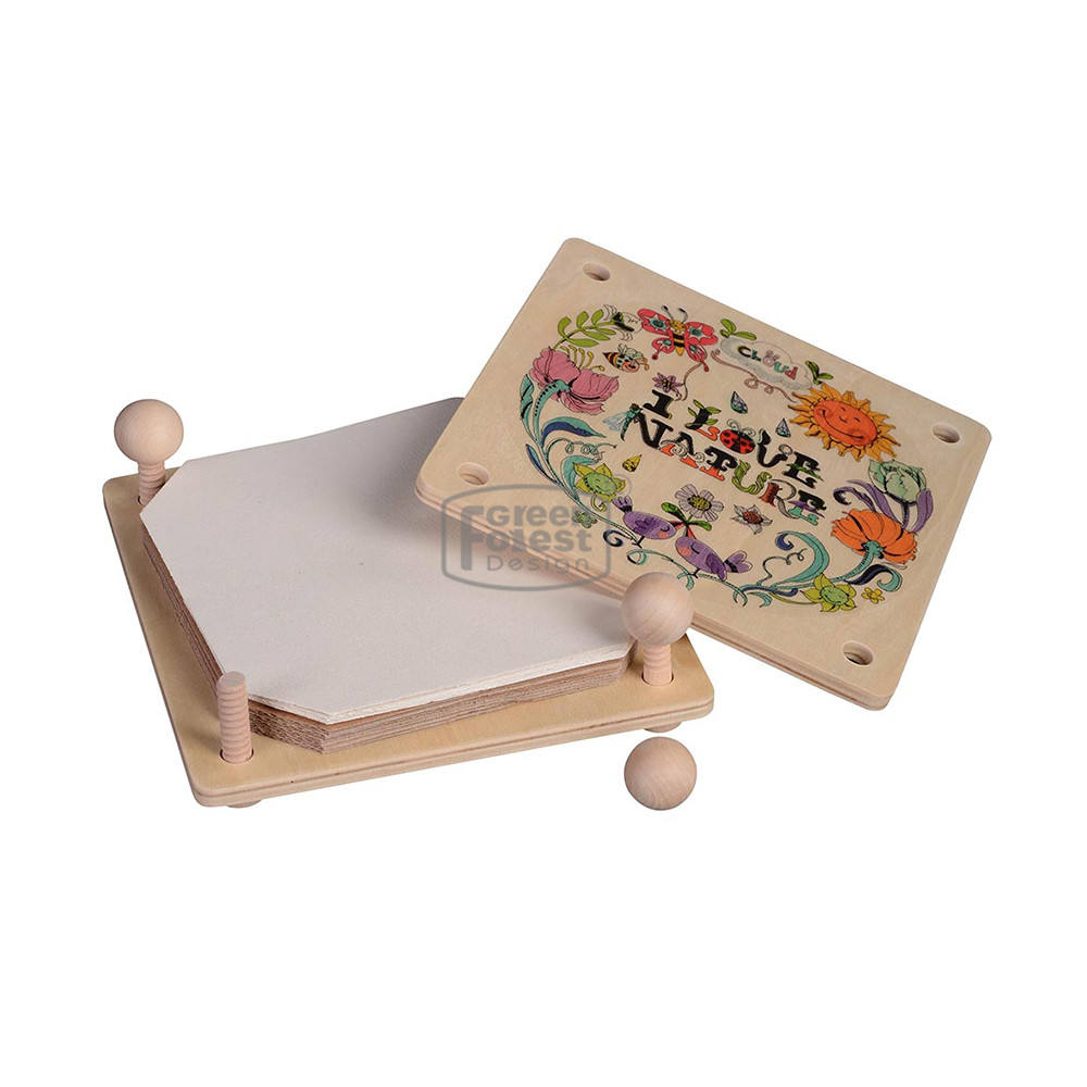 Wholesale Plywood Children Play Wood Book Mark Toy Intelligent DIY Toy Flower Press