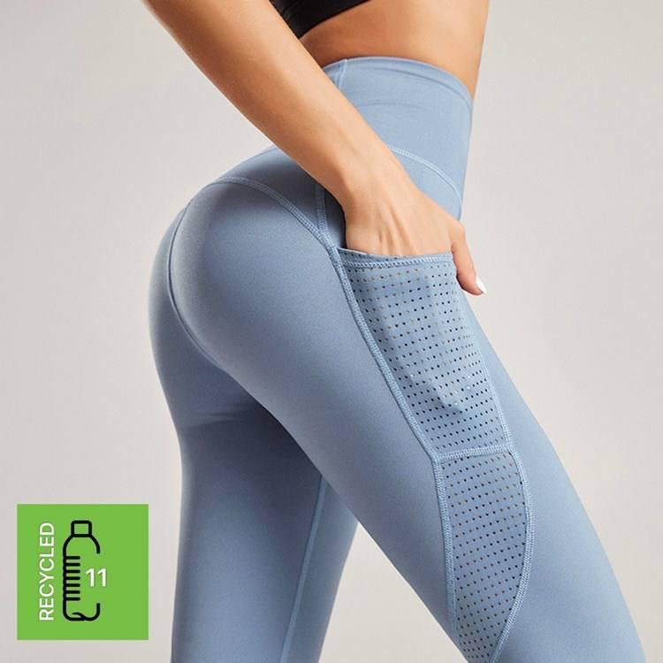 2021 Recycled bottle plastic repreve sustainable custom mesh pant set with pockets for women high-waist yoga leggings