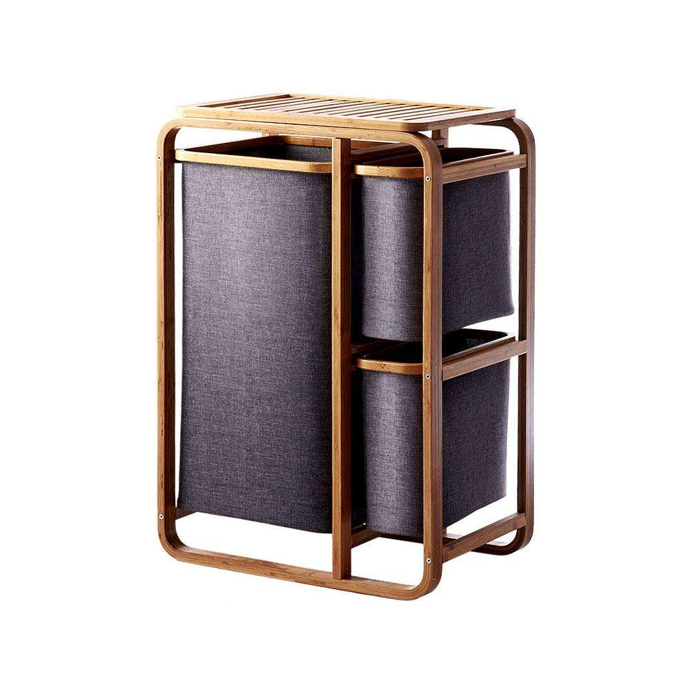 Laundry Hamper Bamboo Frame Durable Cloth Bag Sorter Storage Basket Bin Folding Three-Tier Storage Rack