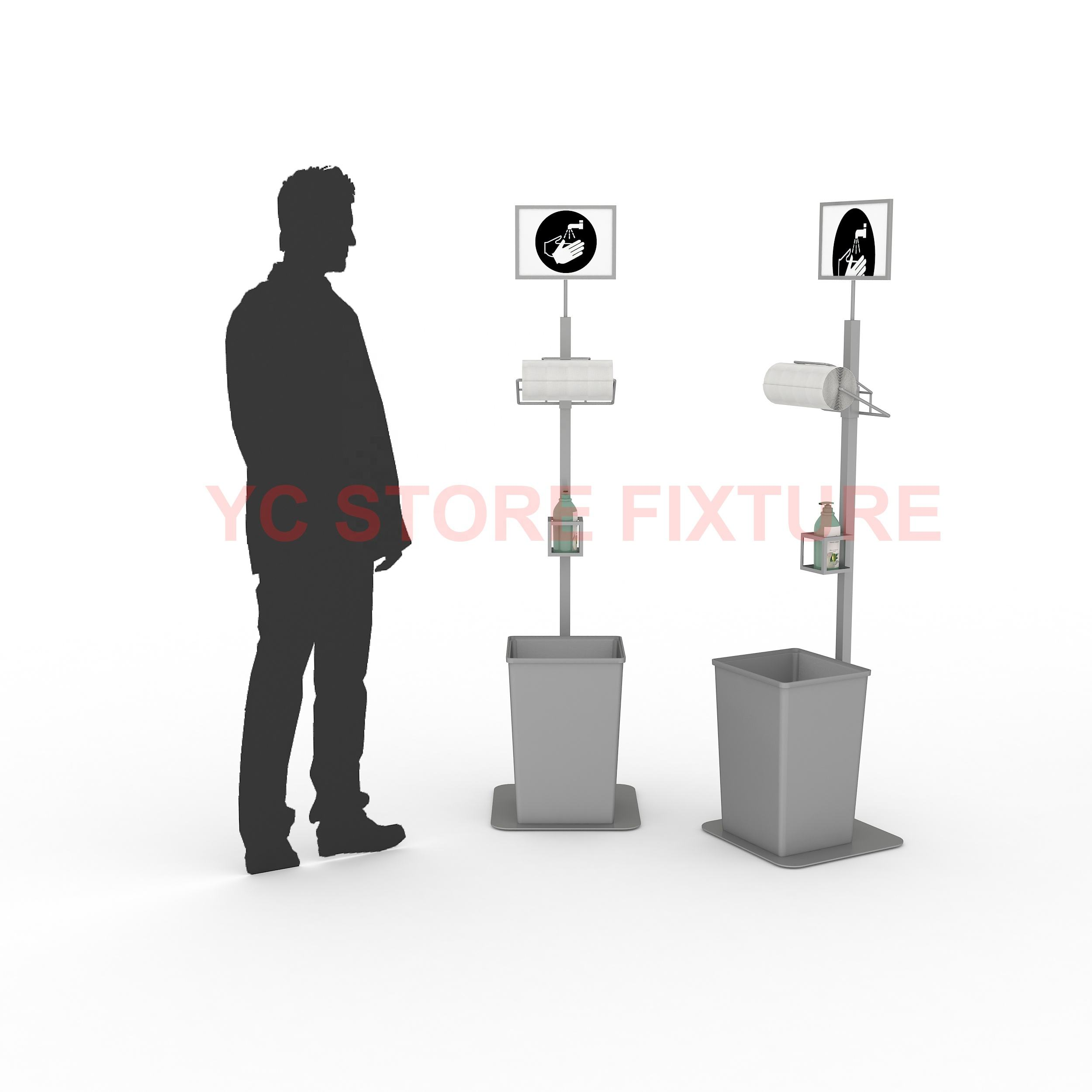 Free standing floor automatic non touch hand sanitizer dispenser display stand
