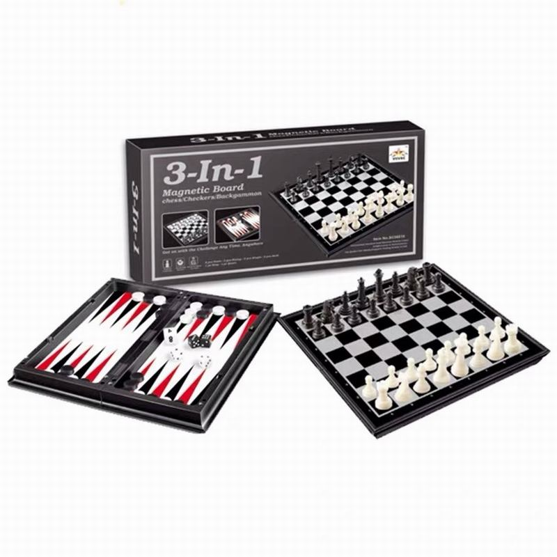 3-IN-1 Chess/Checkers/Backgammon Educational Game Set with Folding Chess Magnetic Board Brain Training for Kids and Adults