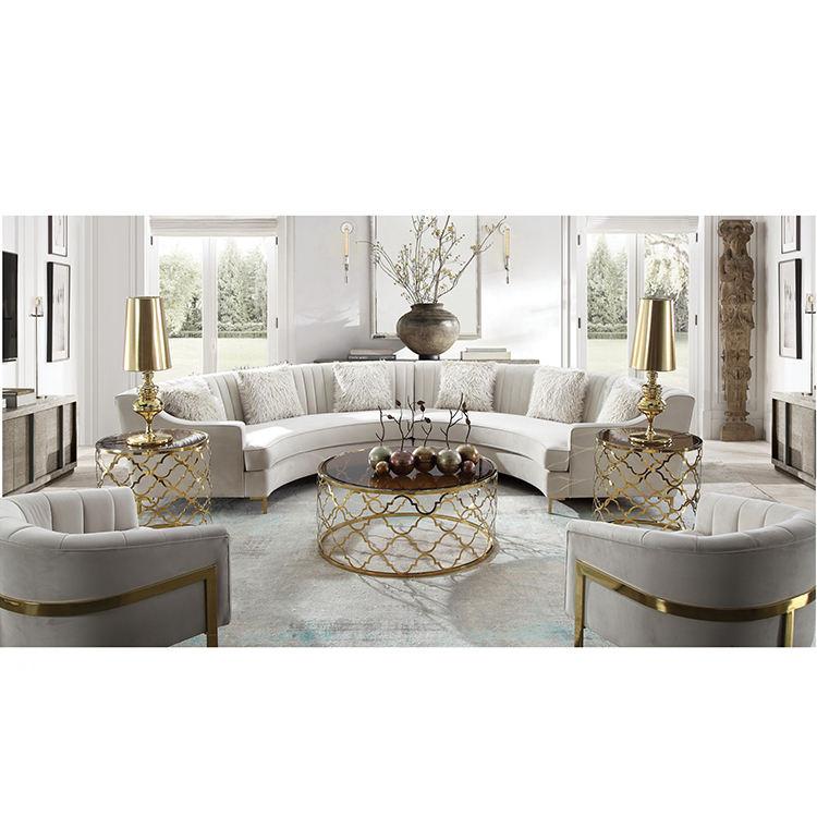 Fábrica barato moderno tela blanca seccionales, sofás, muebles de sala