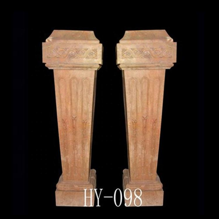 custom red marble stacked stone columns