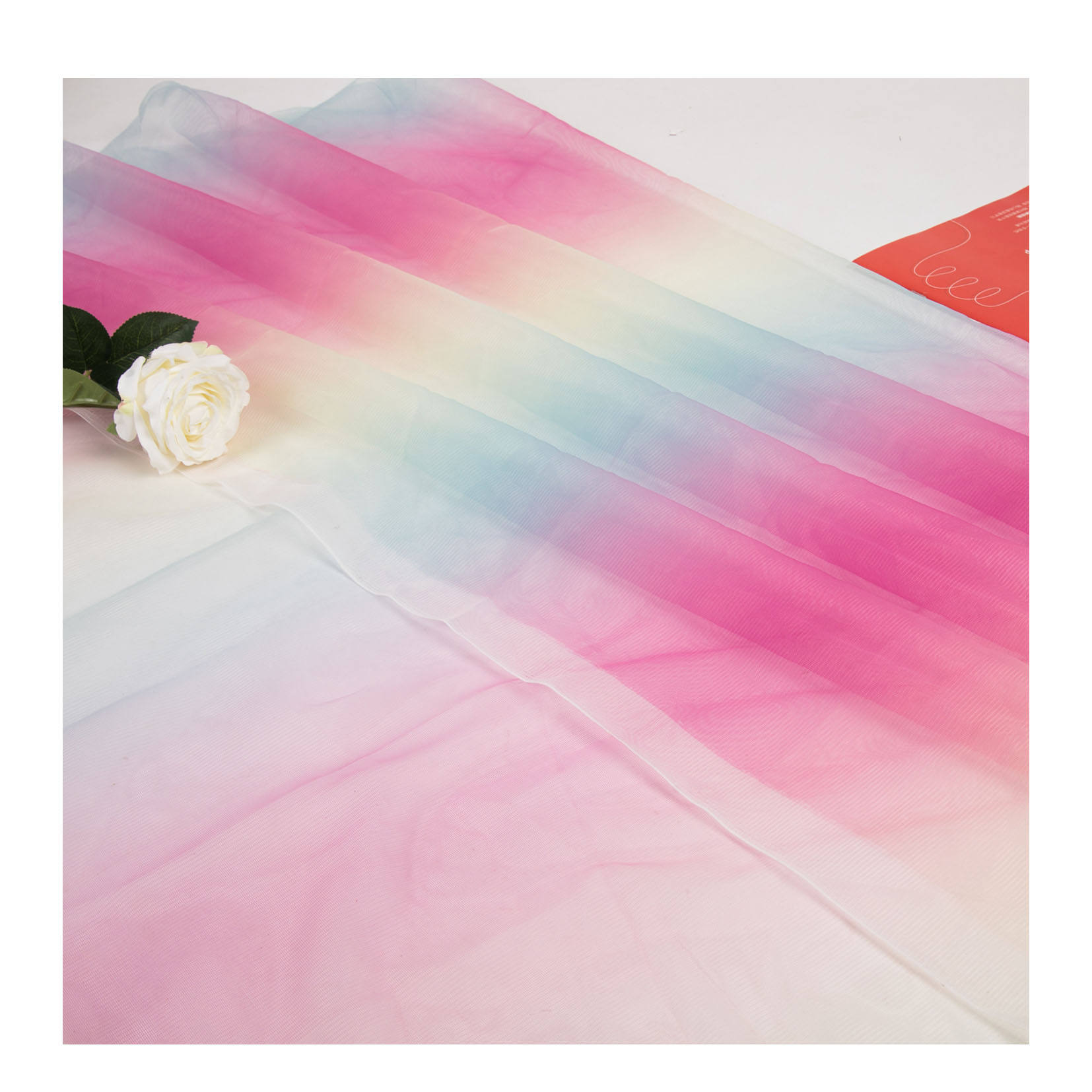 Wonderful Rainbow Color Foil Print Mesh Bridal Lace Tulle Fabric for Party Decoration