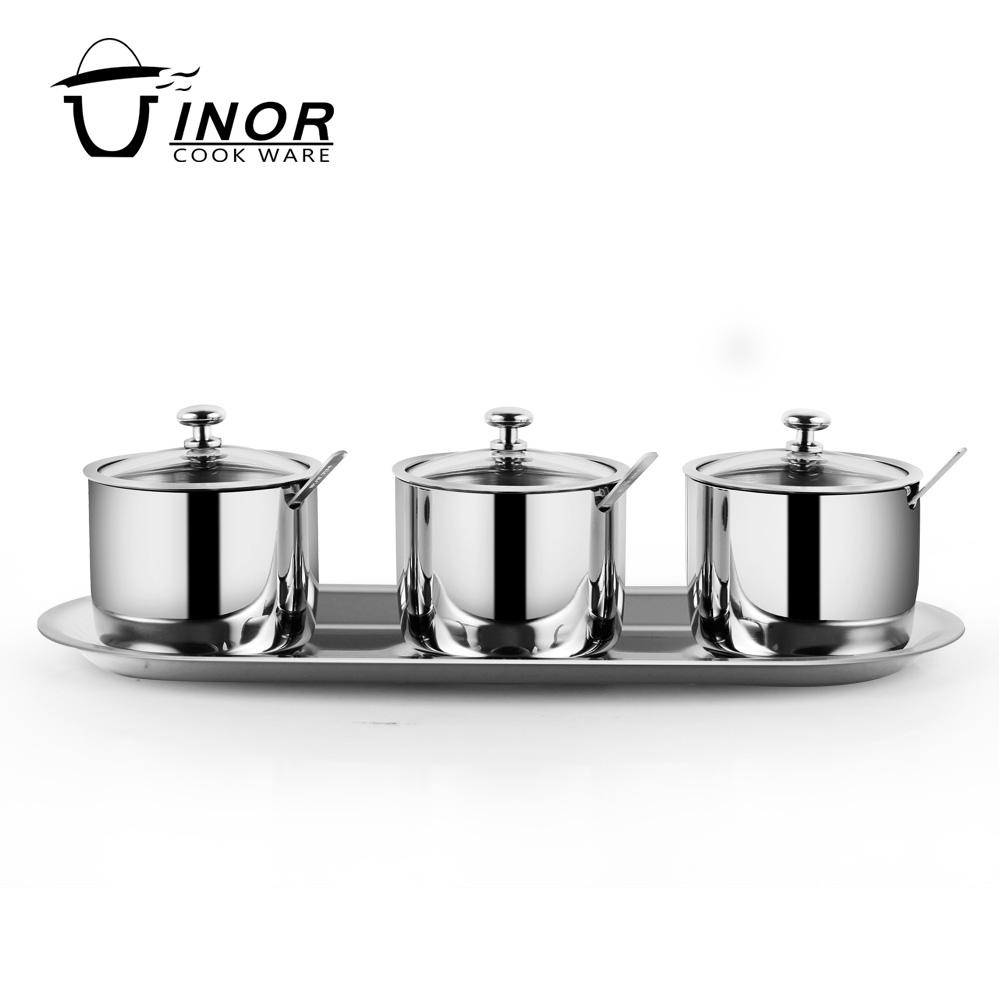 304 Stainless steel sugar bowl coffee tea canister sets seasoing box set with spoon and visible lid