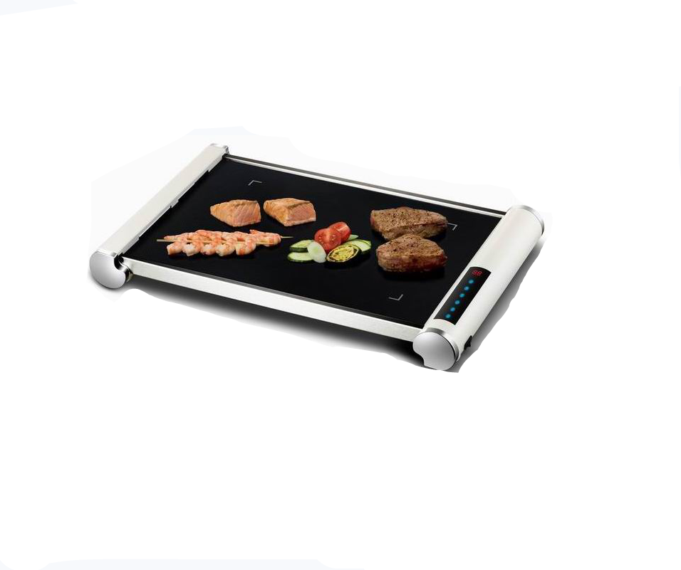 Stylish electric white stainless steel table plate grill with hard-wearing glass ceramic grilling surface for family or out door