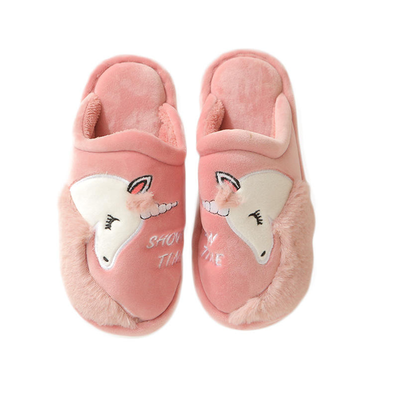 Winter Plush Unicorn Women's Men's Slippers Indoor Home Flat Slide Slippers For Ladies Female Girls Slippers Shoes Hot Sale