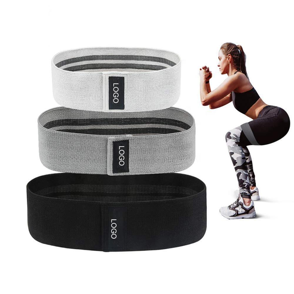 Low MOQ Factory Price Wholesale Custom Color Logo Workout Elastic Fabric Glute Hip Resistance Bands Set