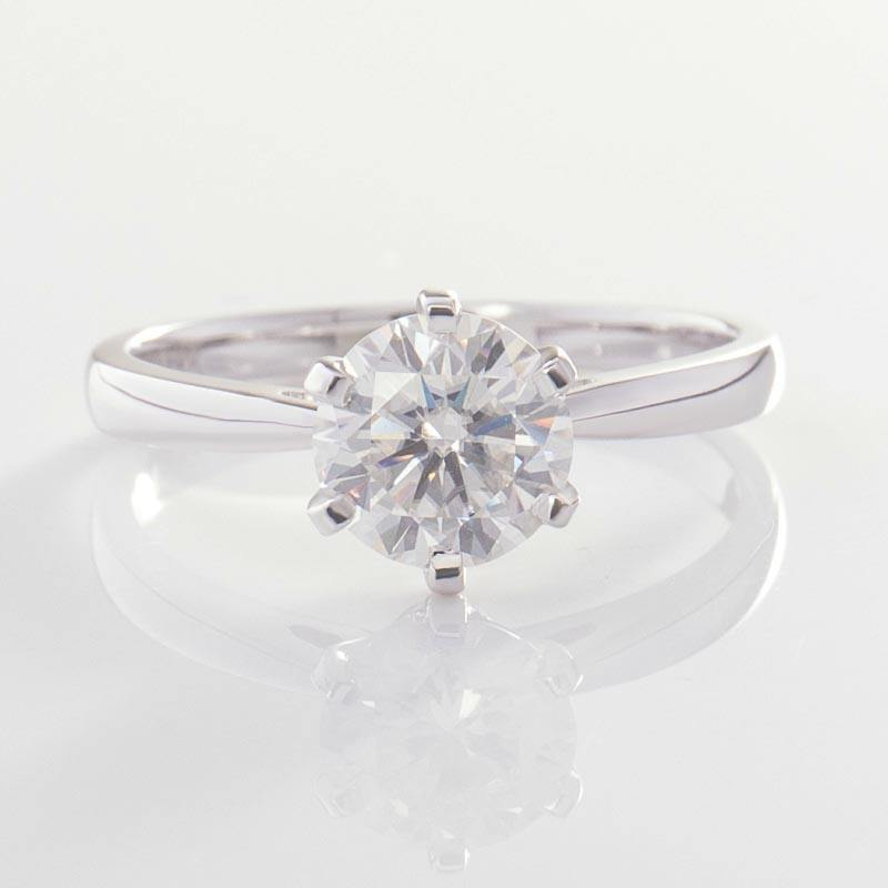 Simple classic 6-prongs 18k white gold solitaire 2CT moissanite engagement ring