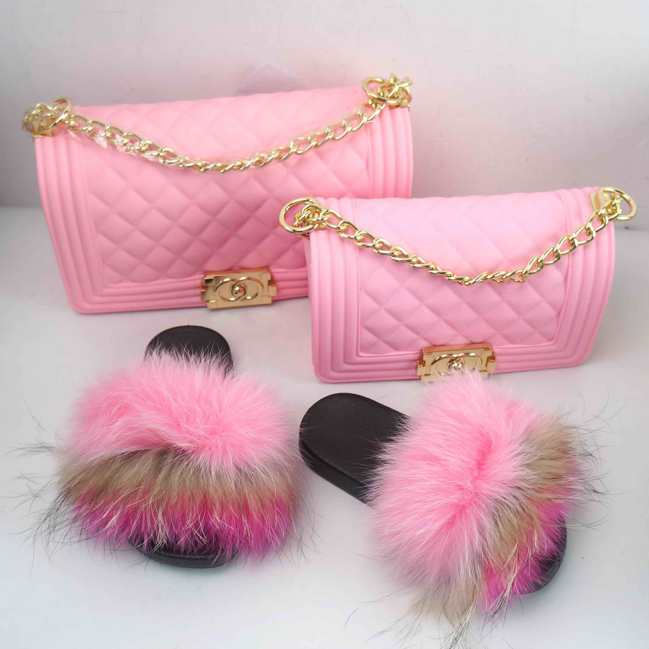 2020 fashion selling colorful fur fluffy slides/shoes match jelly purse /handbags for women