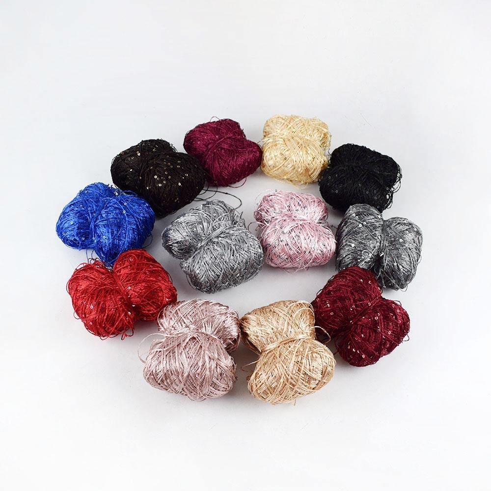 Deepeel YN205 DIY Hand Knitting Crods Sewing Accessories Sweater Yarn Materials Summer Ice Silk Sequined Beads Wool