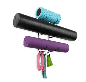 Yoga Mat Wall Holder Foam Roller Rack with 3 Hooks for Resistance Band