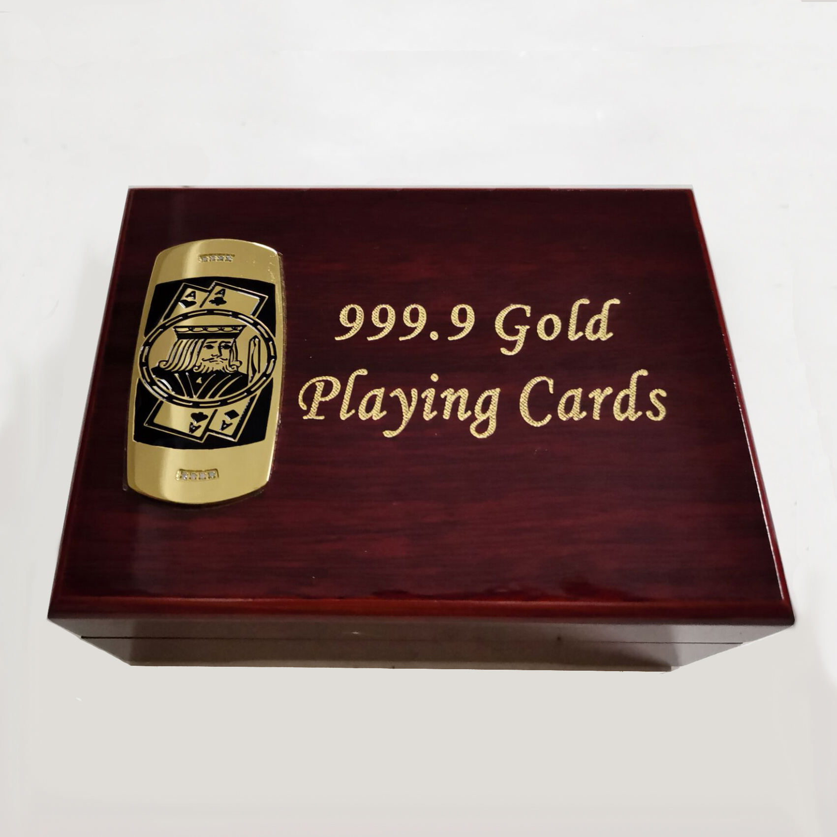 OEM wholesale durable water proof gold foil playing cards porker cards with wooden box