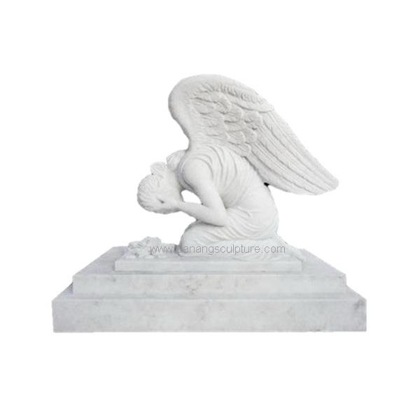 White Marble Weeping Angel Headstone Tombstone DSF-M36