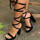 New Fashion Heels for Ladies Women Round Toe Rope High Heel Sandals Shoes