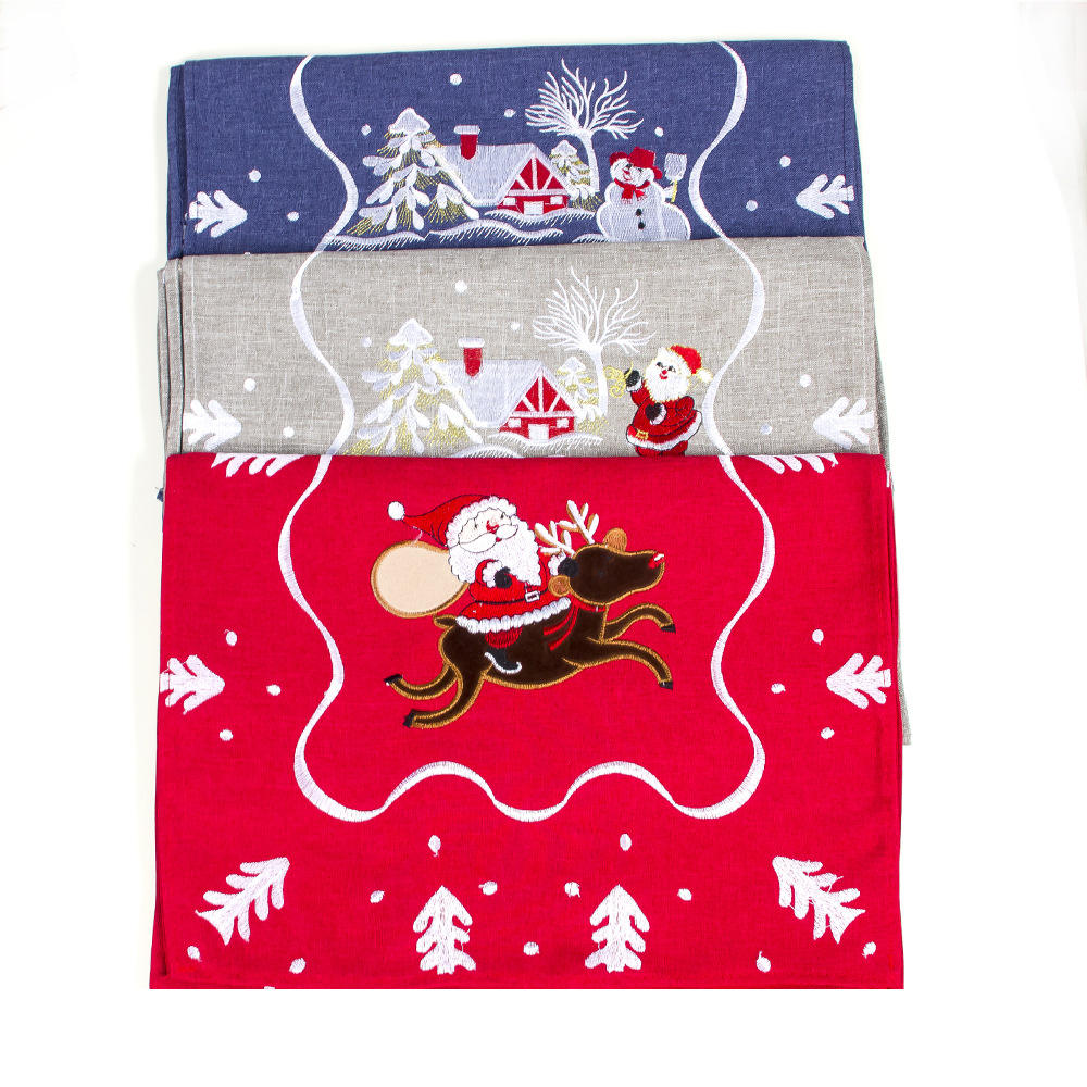 Christmas Table Runner Flag Christmas Tree Snowflake Santa Printed Home Table Runner Ornament Textile Christmas Table Decor