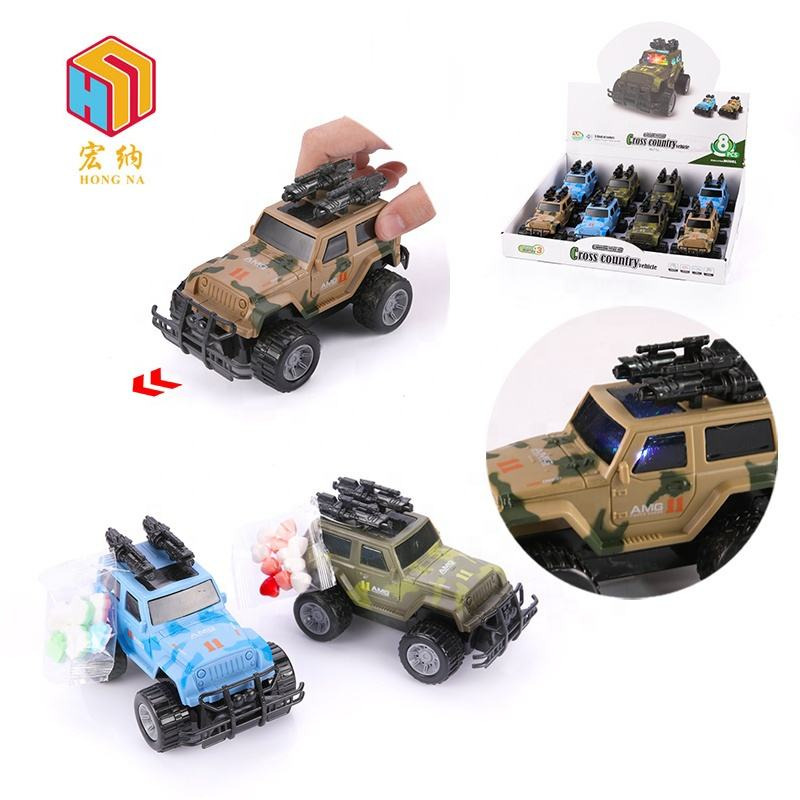 Amusing kids' inertial off road flash car candy and sweets with toy