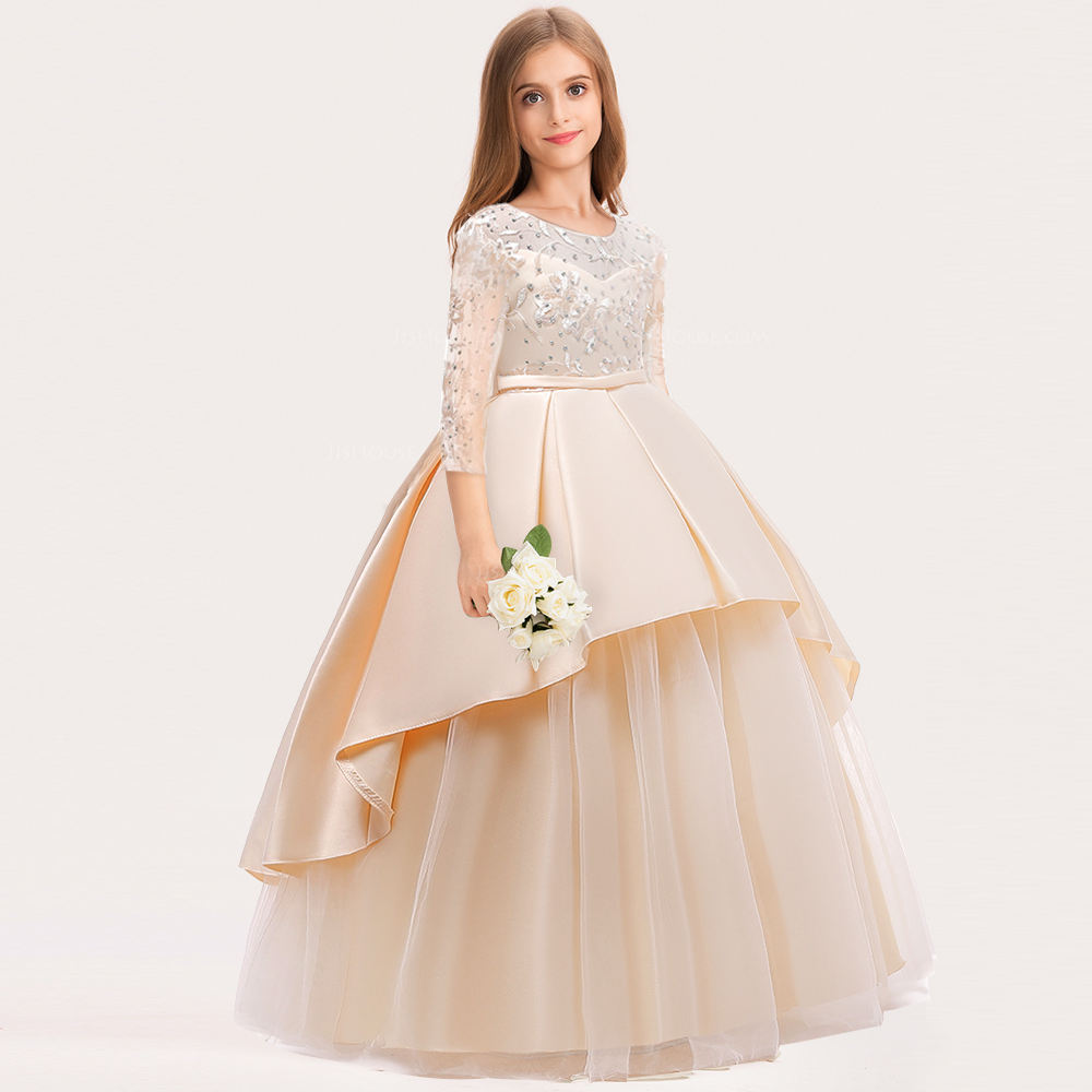 Boutique Long Sleeve Princess Evening Gowns Baby Girl Birthday Wedding Party Dress With Flowers LP-233