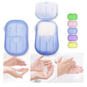 20PCS/BOX Portable Mini Washing Hand Wash Soap Travel Paper Soap Sheets Paper Soap