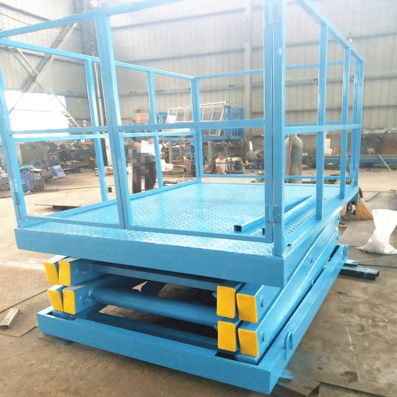 Different kinds of stationary scissor lift tables use for cargo lift desigined by customer's requirement