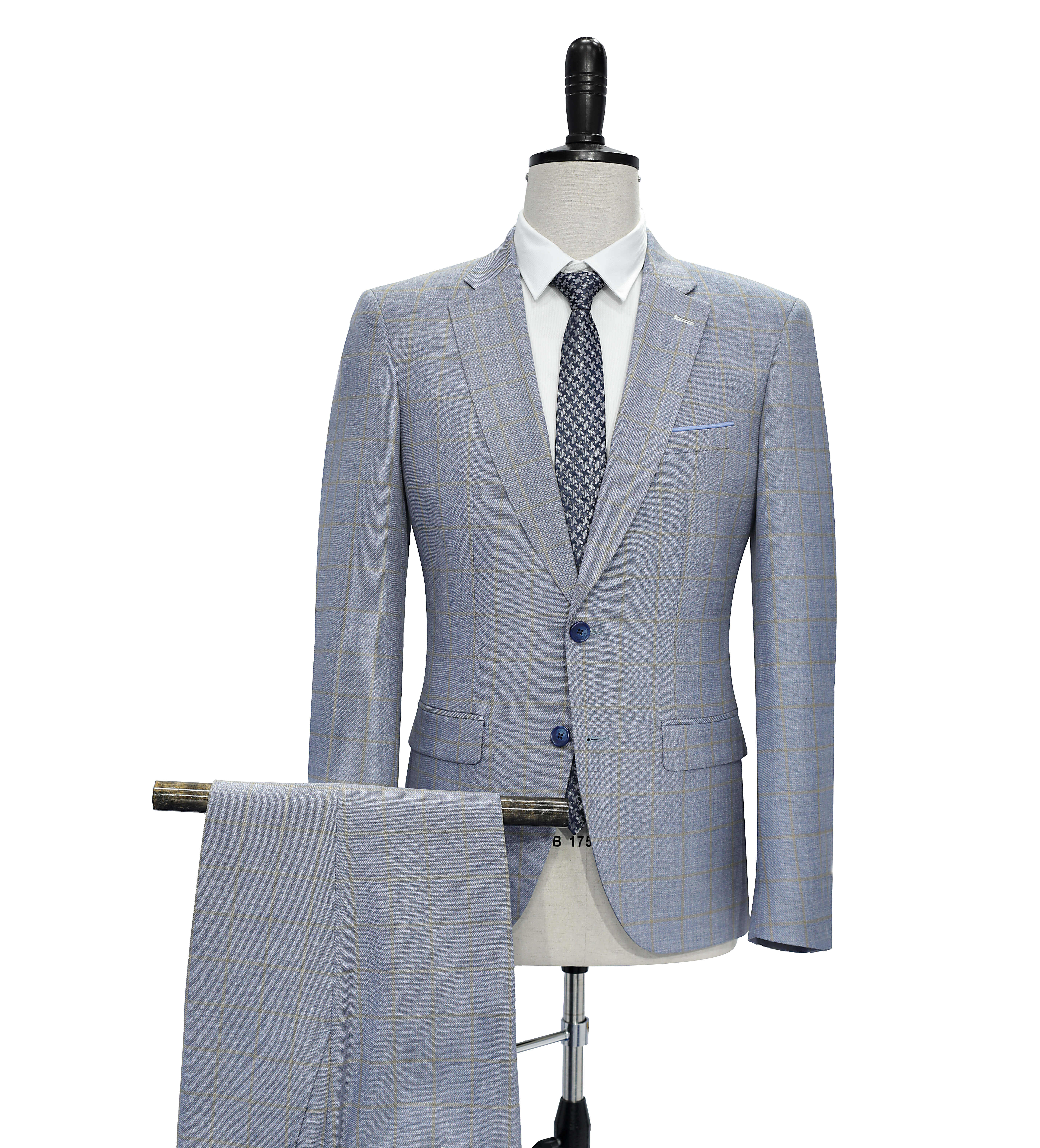2 pcs Check Mens Grey Suits For Weddings Made In China Suits For Men 2020 Men'S Floral Suits