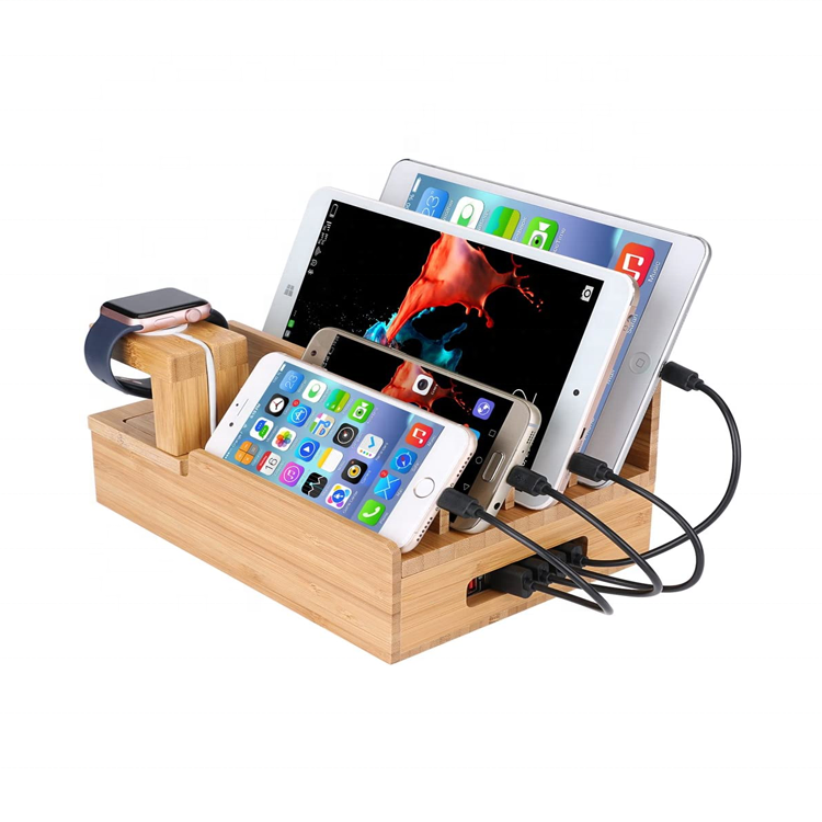 One-Stop Service [ Charging Station Organizer ] Bamboo Charging Station For Multiple Devices Organizer USB Wooden Charging Docking