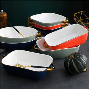 Creative oven microwave use paella baking tray tableware ceramic baking tray with gold handle