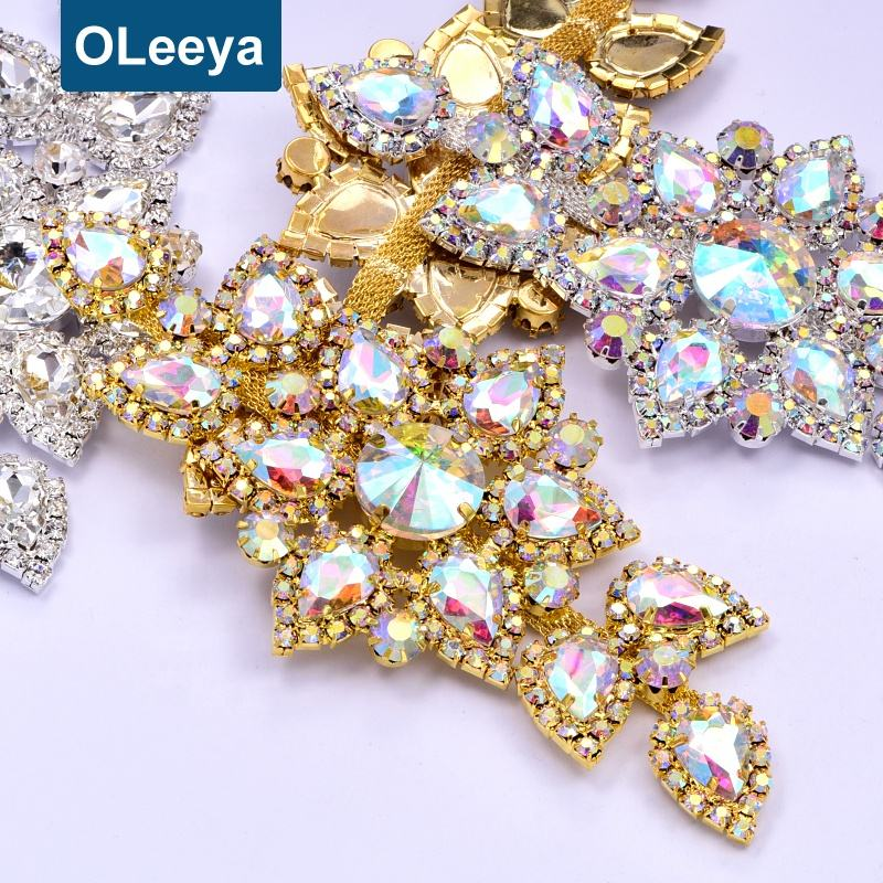 Wholesale Hight Quality Bling 6.5x14cm Rhinestones Crystal Stone Brooch Glass Bodice Rhinestone Appliques for Wedding Dresses