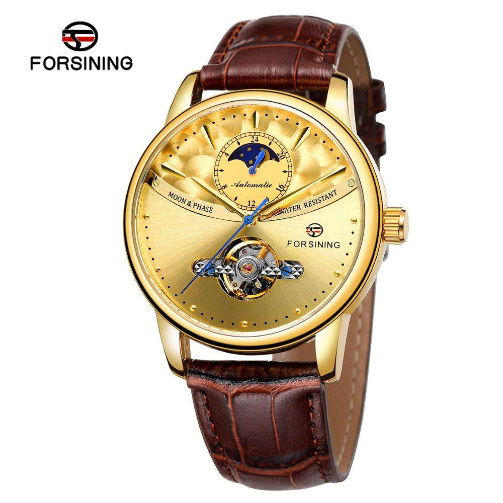 Forsining Factory New Genuine Leather Tourbillon Automatic Watches Mens Luxury Flying Moon Phase Tourbillion Mechanical Watch
