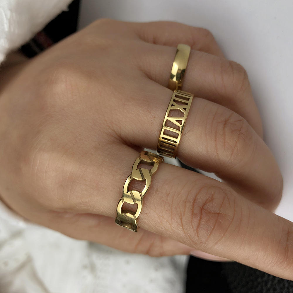 Geometric chain Roman numeral titanium steel index finger ring three-piece combination men and women golden stainless steel ring