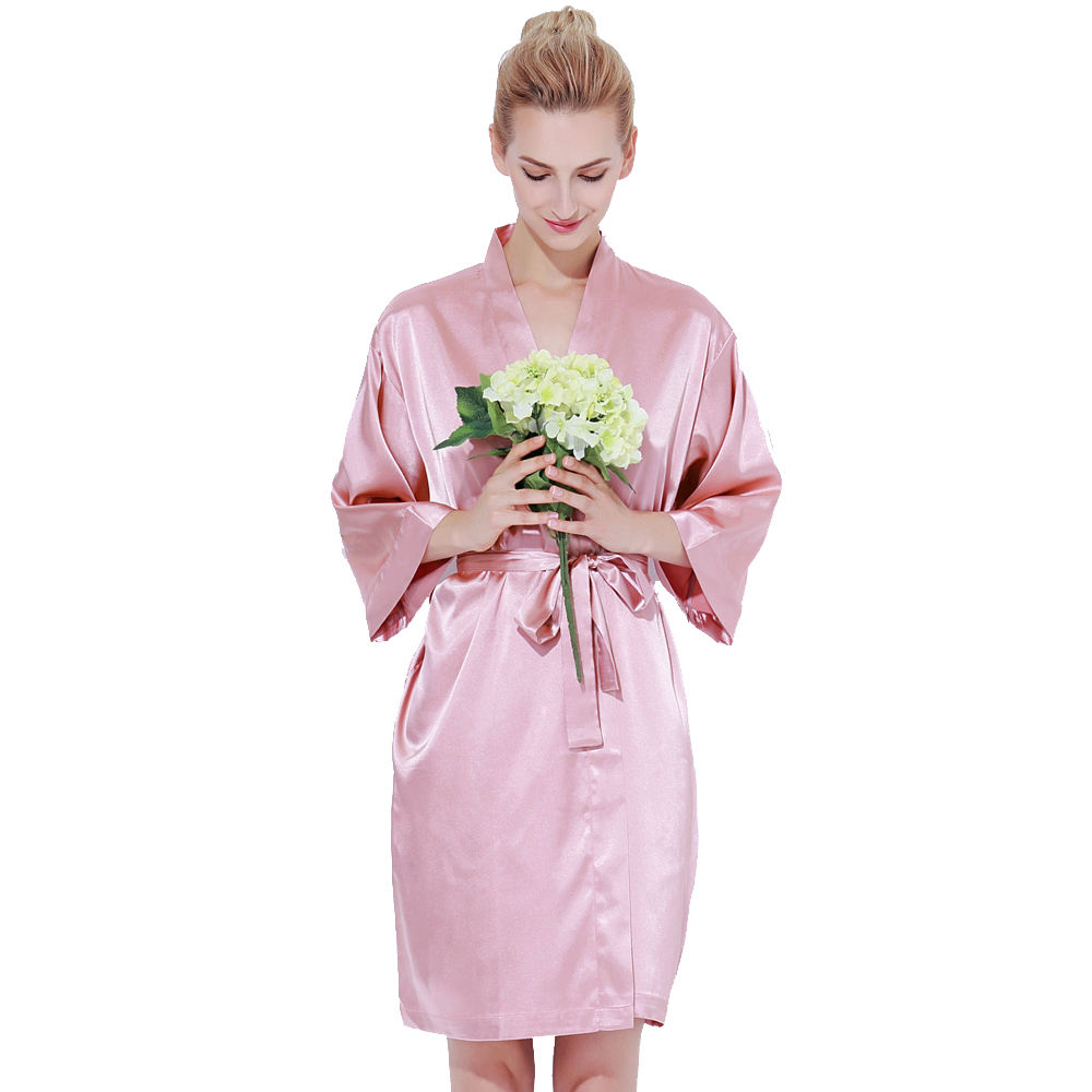 802 Factory Wholesale Women Sexy High Quality Satin Solid Nightgown Robe for Bride and Bridesmaid Party