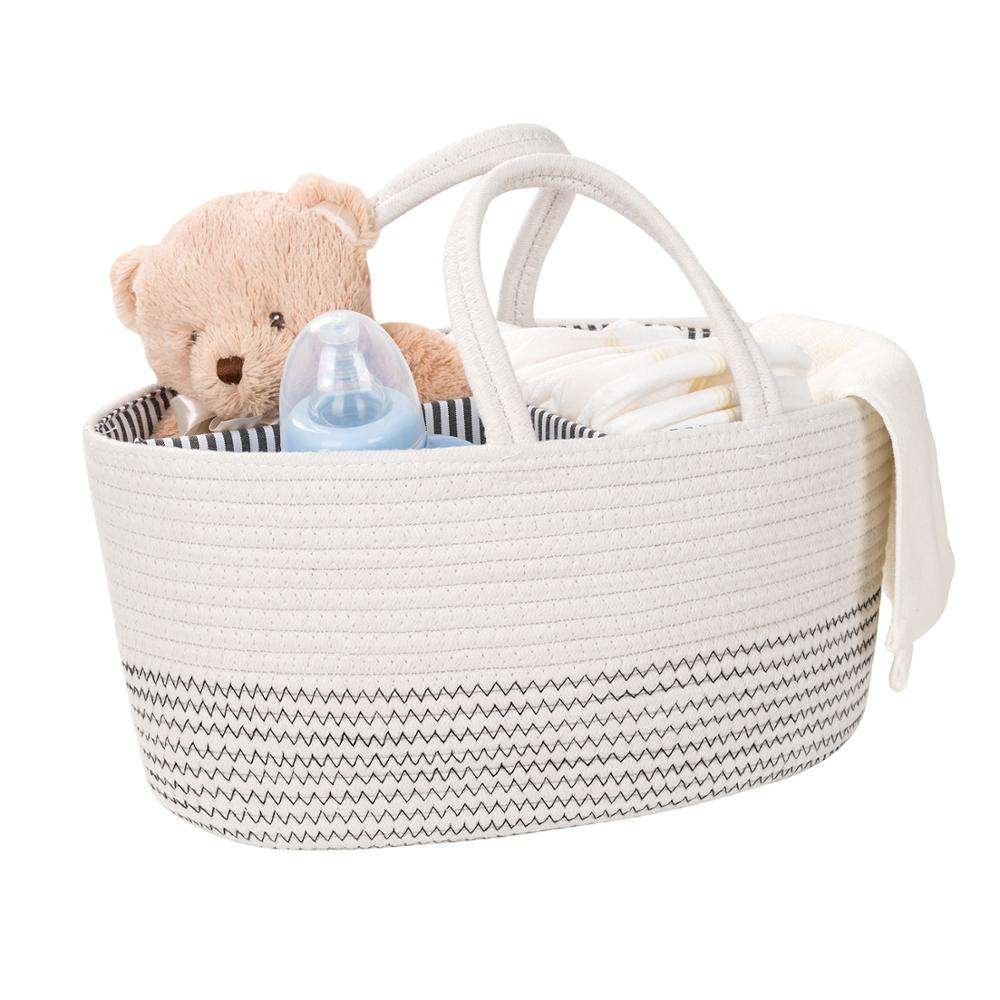 QJMAX Hot Selling Cotton Rope Diaper Caddy Organizer Collapsible Nursery Storage Organizer