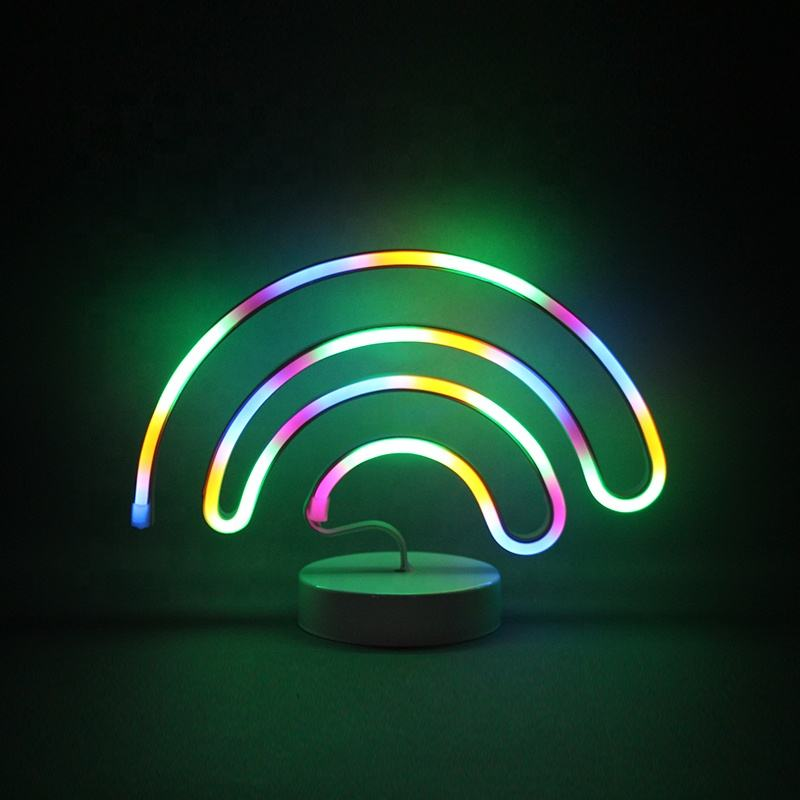 artificial desktop battery powered xmas rainbow love neon lights