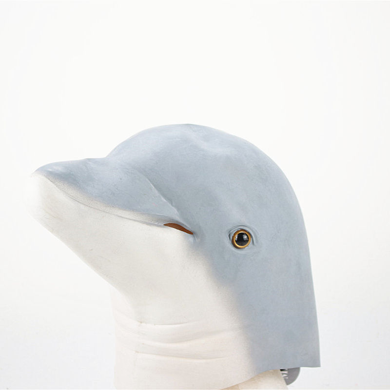 2020 New design Grey white cute dolphin mask animal latex mask halloween carnival supply