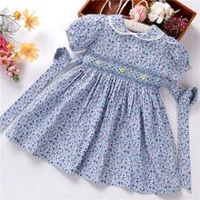 summer baby girls dresses smocked embroidery handmade cotton kids clothes children clothes ready made C3166553