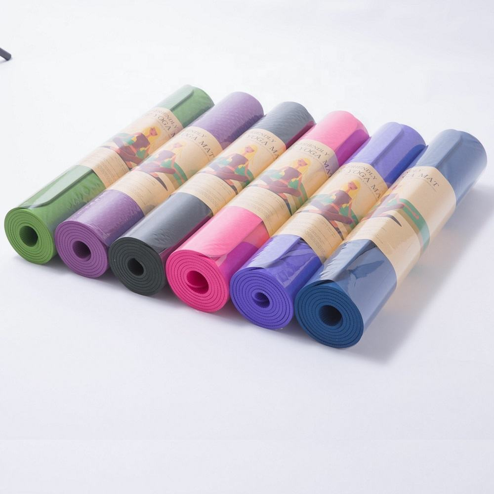 183cm*61cm*6mm Custom Printed Eco friendly Anti-fatigue yoga exercise mat TPE yoga mat