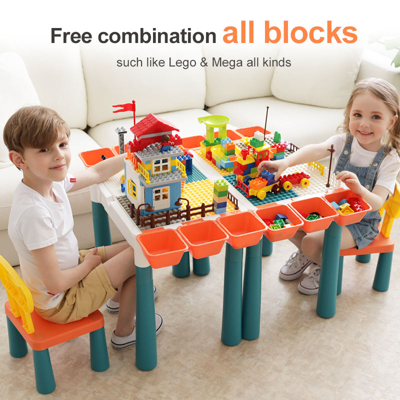 Educational Kids Items Baby Construction Toy Building Block Toys Children Table And Chair With Marble Run And Mini Brick Toys