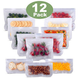 Reusable Storage Bags 10 Pack PEVA Leakproof Ziplock Food St