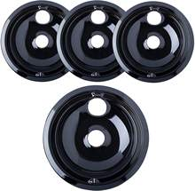 "Black drip pans bowls 3 of 6"" WB31M20 & 1of 8"" WB31M19 for G.E"