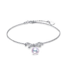 latest 925 silver jewelry bowknot design  freshwater pearl charm bracelet mounting for girl for gift