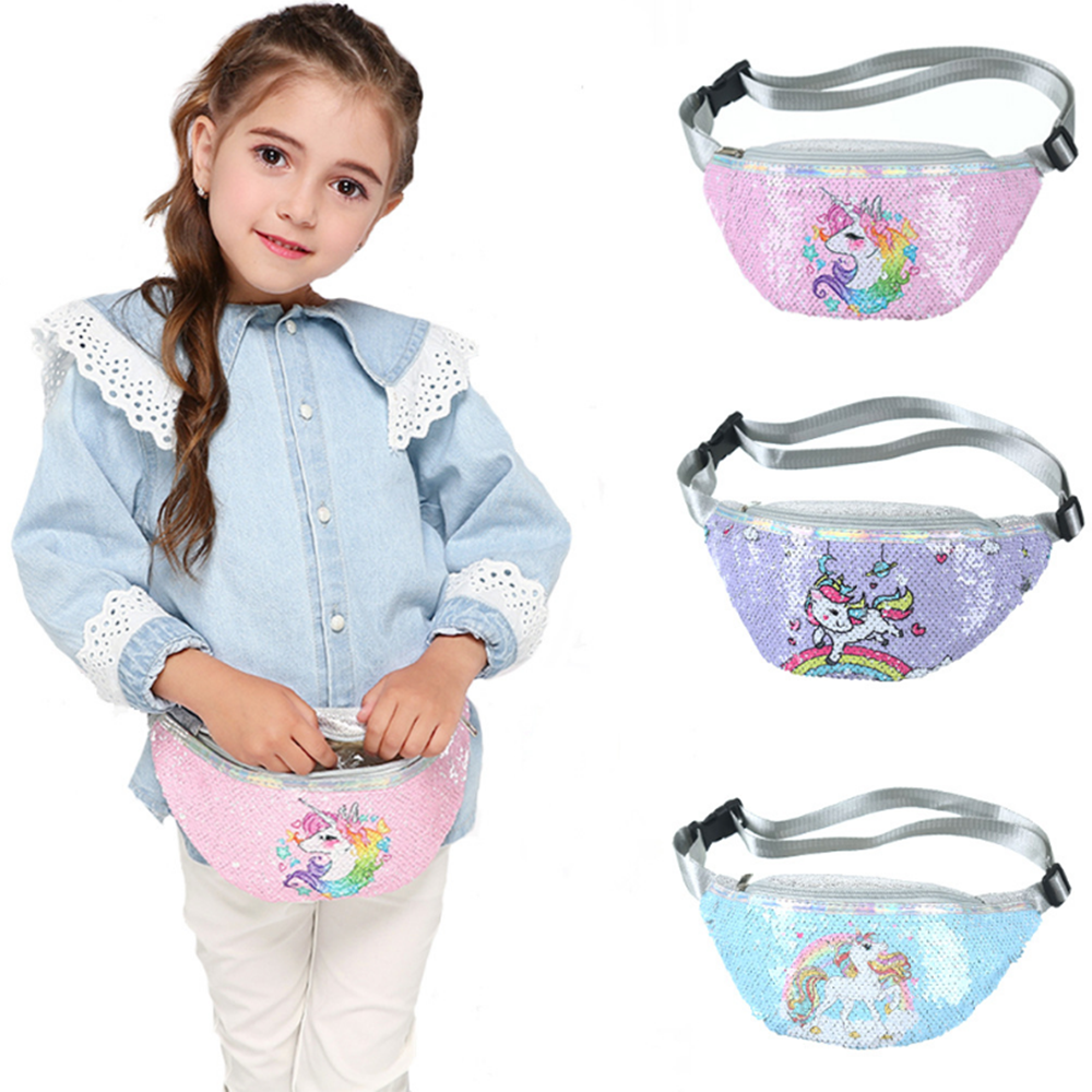 Sequins Printing Unicorn Sequin Fashion Waist Bag Fanny Pack Children Cartoon Chest Bag Outdoor Travel Pocket Phone Pouch