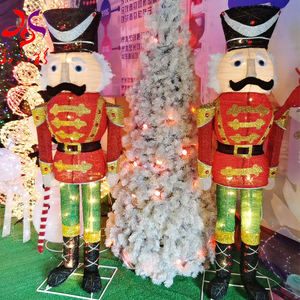 2020 Newest High quality hot selling outdoor festival decorations cloth tinsel led light up Christmas soldier motif light